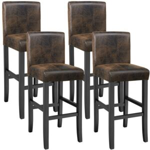 Tectake 403585 4 breakfast bar stools made of artificial leather - antique brown