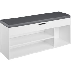 Tectake 403623 shoe cabinet natalya with 4 storage spaces and seat - white