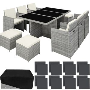 Tectake 403641 rattan garden furniture set new york with protective cover - light grey