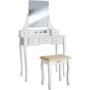 Tectake 403636 dressing table claire with 5 drawers for storage, includes stool and mirror - white