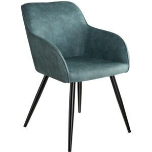 Tectake 403665 chair marilyn, fabric office armchair with steel legs - blue/black