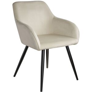 Tectake 403662 chair marilyn with armrests - cream/black
