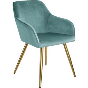 Tectake 403655 chair marilyn with armrests and gold legs - turquoise/gold