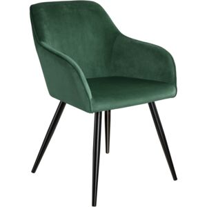 Tectake 403657 chair marilyn with armrests - dark green/black