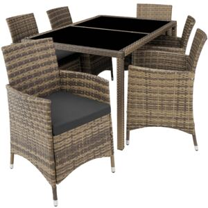 Tectake 403705 rattan garden furniture set lissabon 6+1 with protective cover - nature