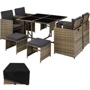 Tectake 403735 rattan garden furniture set bilbao 4+4+1 with protective cover - nature