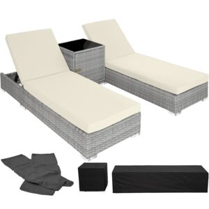 Tectake 403770 2 sunloungers + table with protective cover rattan aluminium - light grey