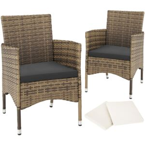 Tectake 403775 2 garden chairs rattan + 4 seat covers model 1 - nature