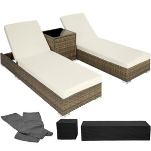 Tectake 403771 2 sunloungers + table with protective cover rattan aluminium - nature