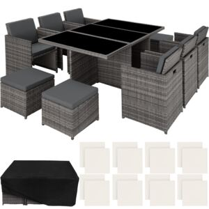 Tectake 403821 rattan garden furniture set new york with protective cover - grey