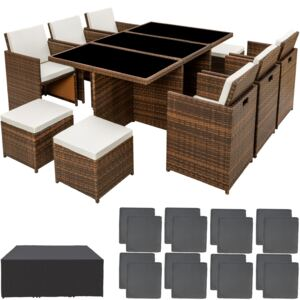 Tectake 403820 rattan garden furniture set new york with protective cover - black/brown