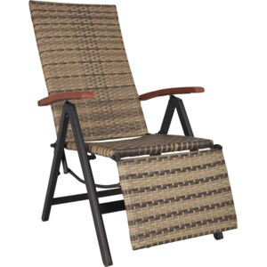Tectake 403861 reclining garden chair with footrest - nature