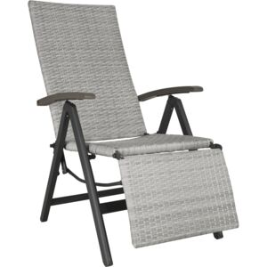 Tectake 403860 reclining garden chair with footrest - light grey