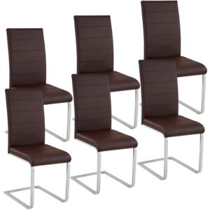 Tectake 403898 6 dining chairs rocking chairs - brown
