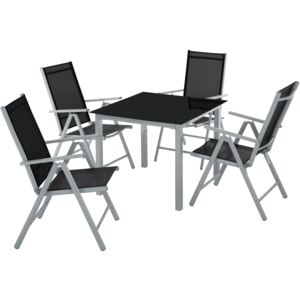 Tectake 403906 garden table and chairs furniture set 4+1 - silver/gray