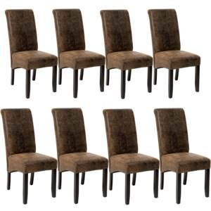 Tectake 403991 8 dining chairs with ergonomic seat shape - antique brown