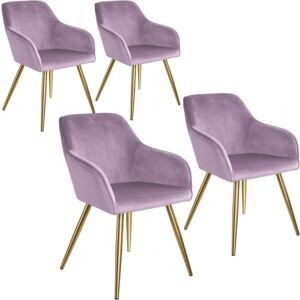 Tectake 404007 4 marilyn velvet-look chairs gold - pink/gold