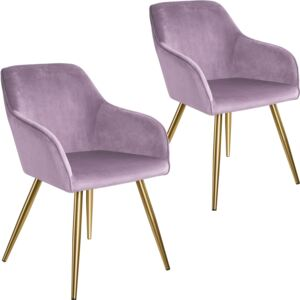 Tectake 404006 2 marilyn velvet-look chairs gold - pink/gold