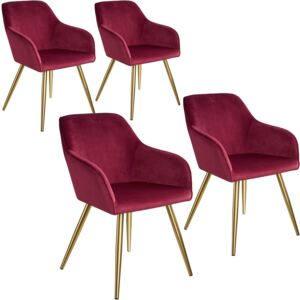 Tectake 403999 4 marilyn velvet-look chairs gold - bordeaux/gold