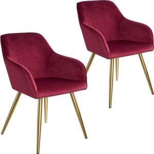 Tectake 403998 2 marilyn velvet-look chairs gold - bordeaux/gold