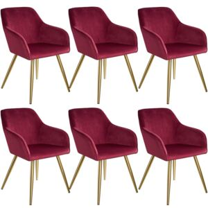 Tectake 404000 6 marilyn velvet-look chairs gold - bordeaux/gold