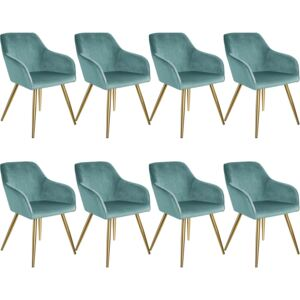 Tectake 404021 8 marilyn velvet-look chairs gold - turquoise/gold