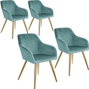 Tectake 404019 4 marilyn velvet-look chairs gold - turquoise/gold