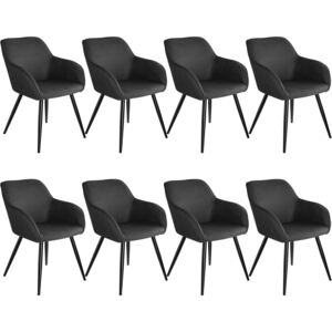 Tectake 404077 8 marilyn fabric chairs - anthracite/black