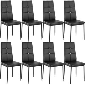 Tectake 404123 8 dining chairs with rhinestones - black