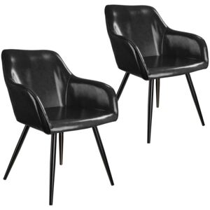 Tectake 404106 2 marilyn faux leather chairs - black