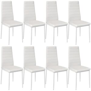 Tectake 404120 8 dining chairs synthetic leather - white