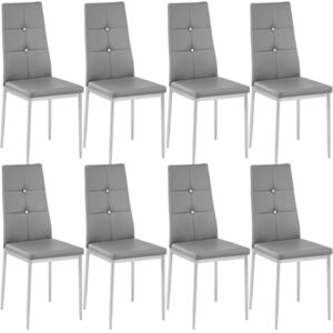 Tectake 404124 8 dining chairs with rhinestones - grey