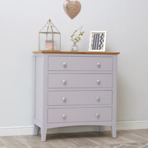 Malvern Shaker Grey Painted Oak Chest of 4 Drawers