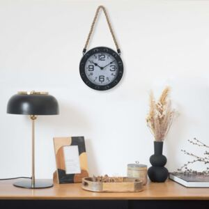 Wall Clock with Rope Black 20 cm Metal and MDF