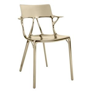 A.I Stackable armchair - Metallic finish applied / Designed by artificial intelligence - 100% recycled by Kartell Metal