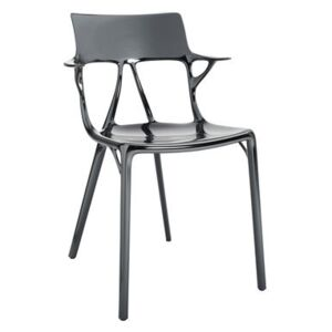 A.I Stackable armchair - metallic finish applied / Designed by artificial intelligence - 100% recycled by Kartell Silver/Metal
