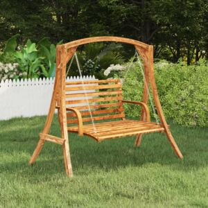 Swing Bench Solid Bent Wood with Teak Finish 91x130x58 cm