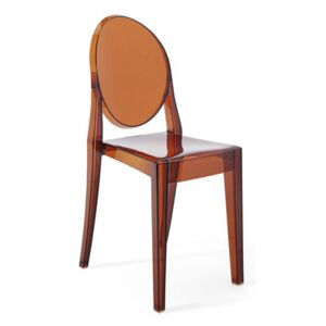 Victoria Ghost Stacking chair - / Polycarbonate 2.0 by Kartell Orange/Brown