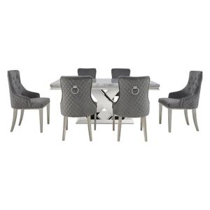 Dolce Dining Table, 4 Side Chairs and 2 Button Back Dining Chairs