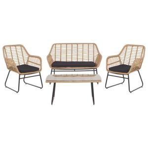 Garden Conversation Sofa Set Black Faux Rattan with Seat Pads and Coffee Table Beliani
