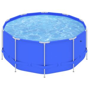 Swimming Pool with Steel Frame 367x122 cm Blue