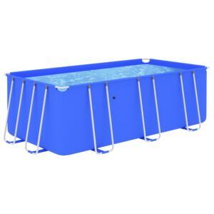 Swimming Pool with Steel Frame 400x207x122 cm Blue