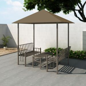 VidaXL Garden Pavilion with Table and Benches 2.5x1.5x2.4 m Taupe 180 g/m²
