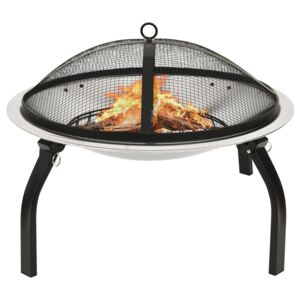 2-in-1 Fire Pit and BBQ with Poker 56x56x49 cm Stainless Steel