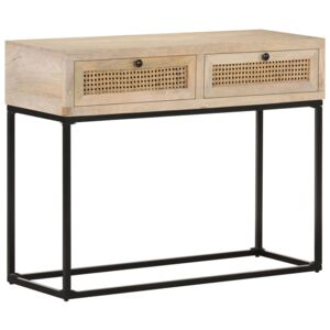 Console Table 100x35x76 cm Solid Mango Wood and Natural Cane