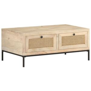 VidaXL Coffee Table 90x50x37 cm Solid Mango Wood and Natural Cane