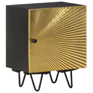 Bedside Cabinet with Brass Front 40x30x50 cm Solid Mango Wood