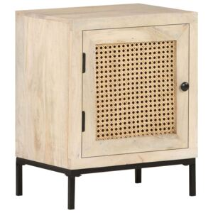 VidaXL Bedside Cabinet 40x30x50 cm Solid Mango Wood and Natural Cane