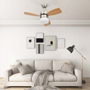 Ceiling Fan with Light and Remote Control 76 cm Light Brown