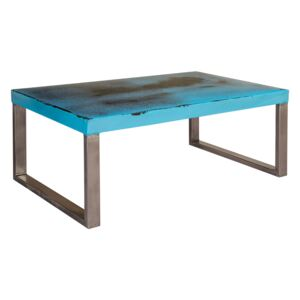 Industrial Design with Distress Finish Coffee Table - Blue